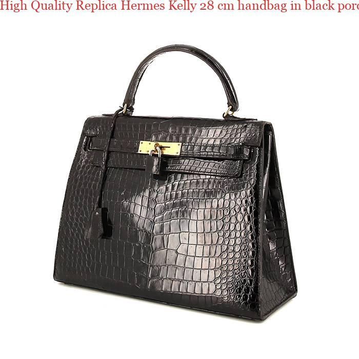 4f26b7e0224d High Quality Replica Hermes Kelly 28 cm handbag in black porosus crocodile