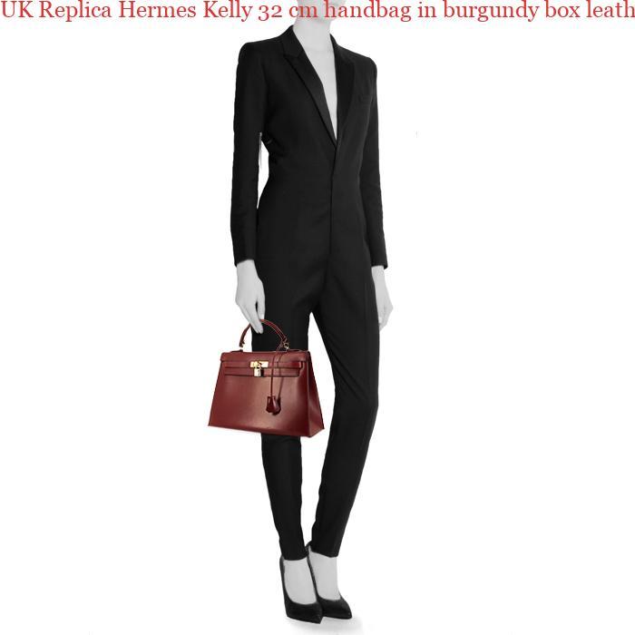 1cf5a1a61b27 UK Replica Hermes Kelly 32 cm handbag in burgundy box leather ...
